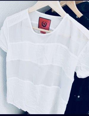 Bluse/Top/Shirt weiß kurzärmlig elegant Sommerlich Viskose Gr. 34-36