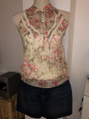 Bluse Top Vero Moda mit Rüschen und Spitze Blumenprint Gr. S 34 36 NEU