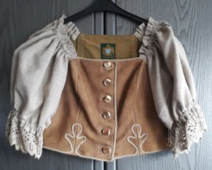 Hammerschmid Leather Blouse beige leather