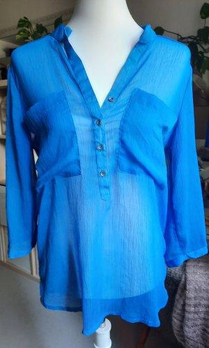 Only Transparentna bluzka stalowy niebieski