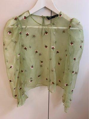Bluse transparent grün Blümchen Zara Tracht