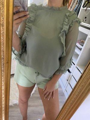 Bluse transparent mintgrün rüschen