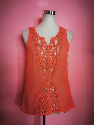 Bluse, Transparent, Orange (K3)