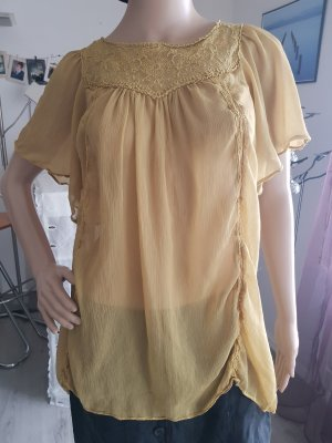 Bluse, transparent, senffarbig, Sommeroberteil ,H&M Größe 38
