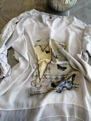 Tredy Camicetta a maniche lunghe grigio chiaro-giallo pallido
