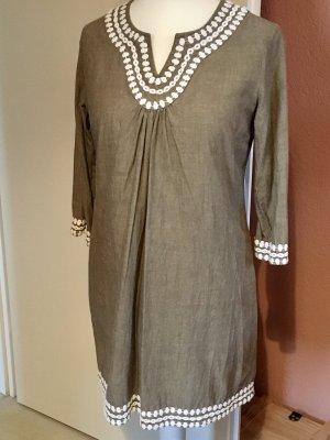 Boden Tunic Dress khaki-natural white linen
