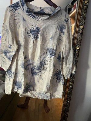 Tunique-blouse crème-bleu lin