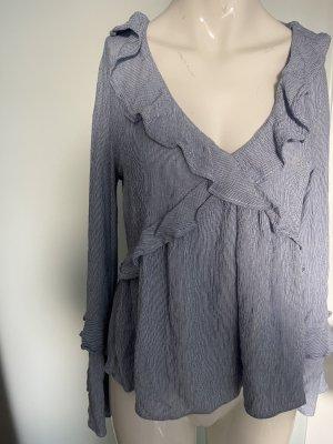 American Eagle Outfitters Tunique-blouse blanc-bleu azur