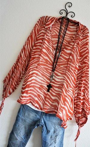 Blusa de túnica blanco-rojo Viscosa