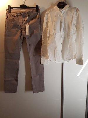 Stefanel Long Sleeve Blouse white-grey brown