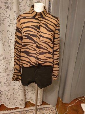 Bluse Vila Zebra Look schwarz/braun Gr. 38 (M) Animal Langarm casual basic