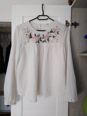 Bluse vintage mit Blumen Stickerei