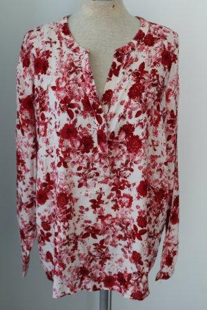 Bluse Vokuhila Gr. 42 neu weiß rote Blumen