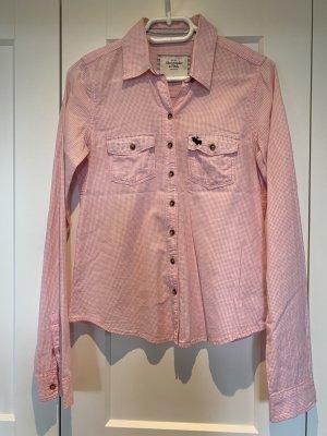 Abercrombie & Fitch Blouse met lange mouwen wit-roze Katoen