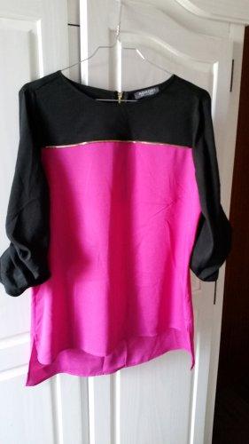 Adagio Blusa de manga larga negro-magenta