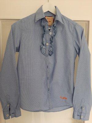 Adenauer & Co Camicia a scacchi bianco-blu acciaio