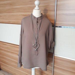 Alba Moda Blusa de cuello alto marrón grisáceo