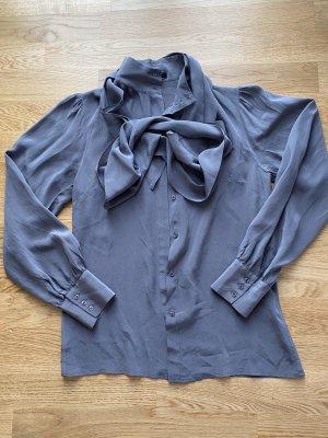 Apart Blusa de seda gris-color plata Seda