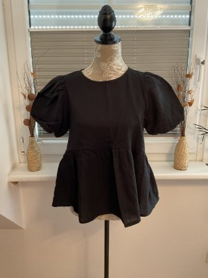 Asos Short Sleeved Blouse black linen
