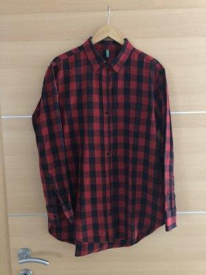 Benetton Koszula w kratę czarny-ciemnoczerwony