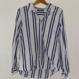 Bikbok Oversized blouse wit-blauw