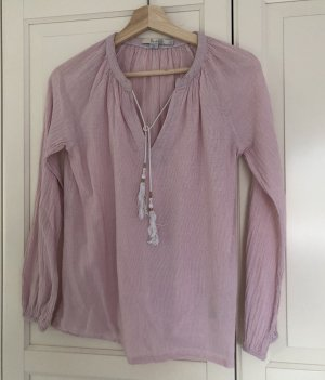 Boden Long Sleeve Blouse pink-white cotton