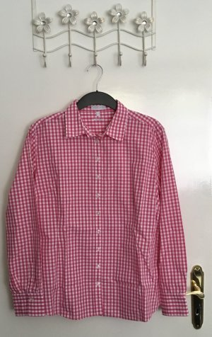 Brookshire Checked Blouse raspberry-red-white cotton