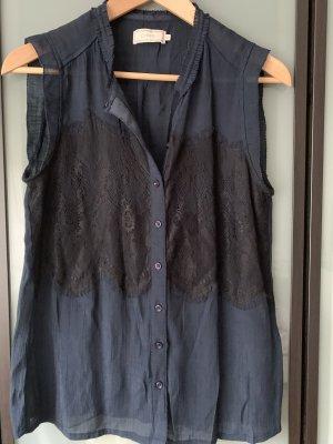 Cream Sleeveless Blouse dark blue-black