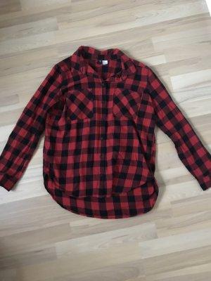 H&M Divided Blusa a cuadros negro-rojo
