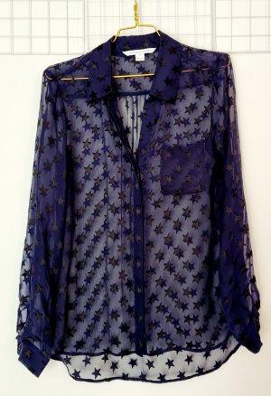 Diane von Furstenberg Blusa trasparente nero-blu scuro