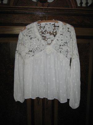 Free People Bluzka z długim rękawem w kolorze białej wełny