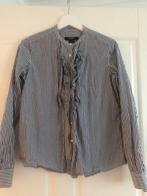 Bluse von Gant- blau weiß gestreift, mit rüschenfront