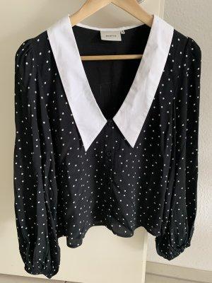 Gestuz Bluzka o kroju koszulki biały-czarny Bawełna