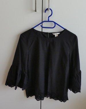 H&M Bluzka z falbankami czarny Bawełna