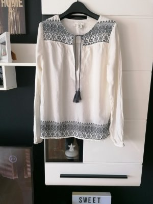 H&M Blouse Top dark grey-natural white