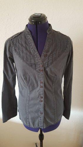 Ichi Blusa de cuello alto gris Algodón