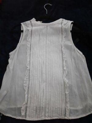 Mango Bluzka bez rękawów w kolorze białej wełny