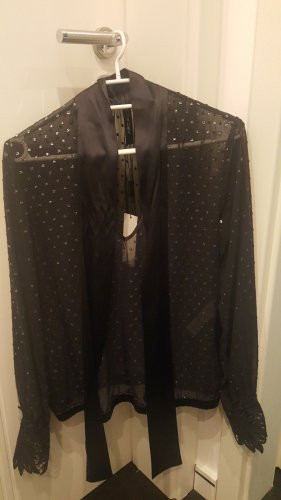 Marc Cain Glanzende blouse zilver-donkerblauw