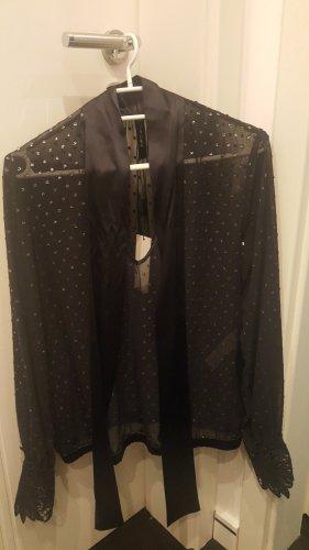 Marc Cain Połyskująca bluzka srebrny-ciemnoniebieski