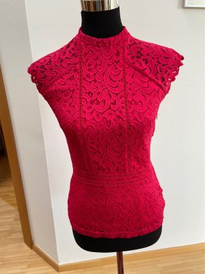 Orsay Blusa de encaje rojo frambuesa
