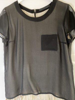 Set Bluzka z kokardą czarny-kremowy