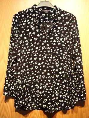 Bluse von Sienna, kaum getragen, schwarz mit weißem Herzchenmuster