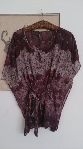 Blusa kimono grigio-lilla-rosa Poliestere