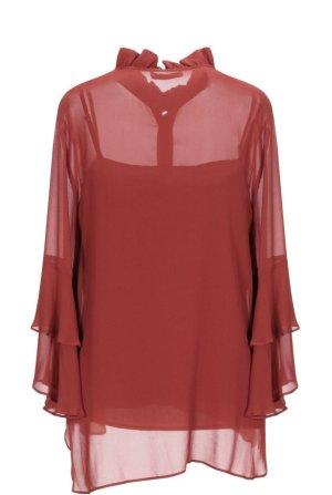Twin set Blusa de cuello alto rojo ladrillo