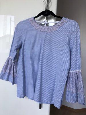 Vero Moda Bluzka z kokardą biały-błękitny