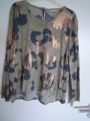 Bluse von YAYA WOMEN, Gr. 42, blau / gold / khaki /  Leo-Print