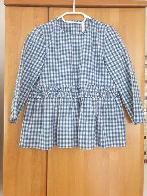 Zara Camicetta con arricciature bianco-blu