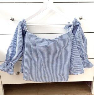 Zara Blouse Carmen blanc-bleu azur