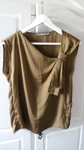 Zara Basic Tie-neck Blouse light brown