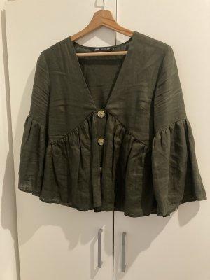 Zara Oversized Blouse green grey-khaki